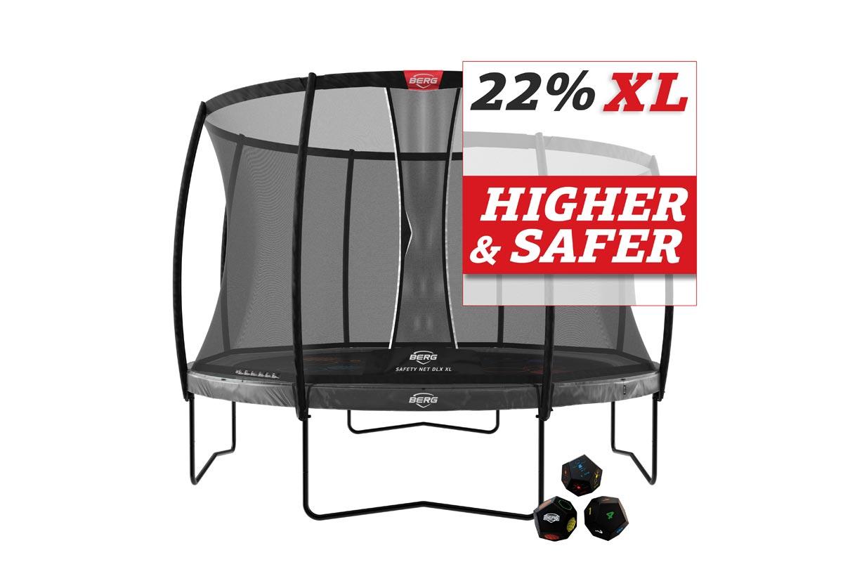 BERG Trampolin Elite 430 Levels + Sicherheitsnetz DLX XL